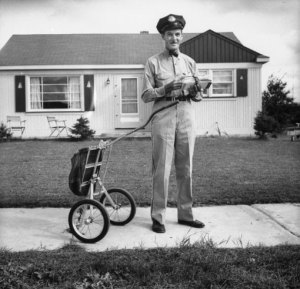 Mail carrier Clifford Bodine, Michigan, 1955