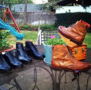 Shining shoes.