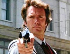 "Dirty Harry dealing out justice. ""Do you feel lucky?"""