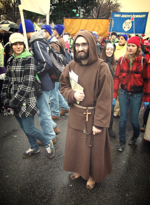 A Franciscan friary barefoot in the freezing cold at the March for Life. Some serious penance.